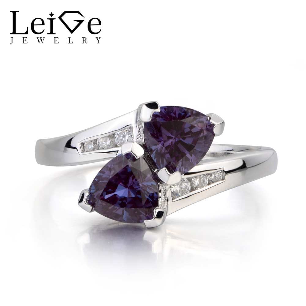 Leige Jewelry Alexandrite Ring Wedding Ring June Birthstone Trillion Cut Gemstone Color Changing Gem 925 Sterling