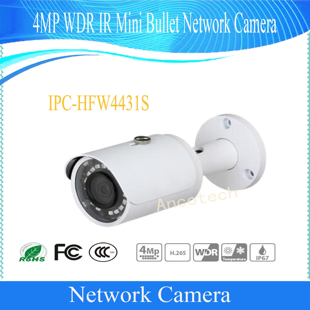 Free Shipping DAHUA Security IP Camera 4MP WDR IR Mini Bullet Network Camera IP67 PoE Without Logo IPC-HFW4431S free shipping dahua security cctv ip camera 5mp wdr ir mini bullet camera with poe ip67 no logo ipc hfw1531s