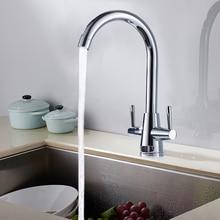 Туры латунь 360 Поворотный кухонный кран смеситель двойная ручка кухонный ванной кран Torneira Cozinha Грифо Cocina
