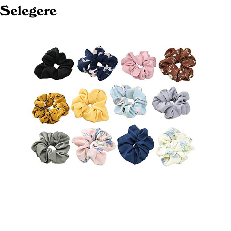 Flower Chiffon  Hair Bow Scrunchies for Hair Big Hair Ties Ponytail Holders with Bow for Women Girls 9 Colors 60pcs/lot