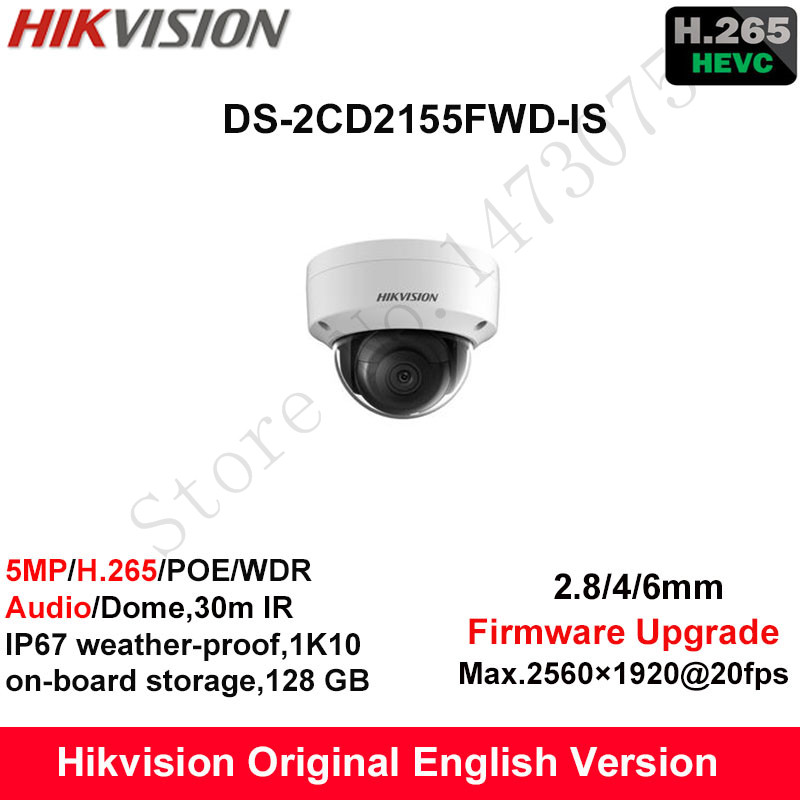 In Stock Hikvision English Security Camera DS-2CD2155FWD-IS 5MP H.265+ Mini Dome CCTV Camera WDR IP Camera POE Fixed IP67 Audio hikvision original english cctv camera ds 2cd2142fwd is 4mp fixed dome ip camera poe audio ip67 junction box ds 1280zj dm18