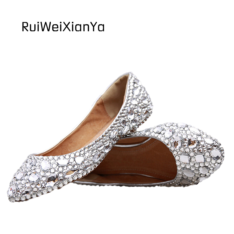 2017 New Fashion Spring Ladies Pointed Toe Shoes Woman Flats Crystal Diamond Silver Wedding Shoes for Bridal Plus Size Hot Sale 2017 new fashion spring ladies pointed toe shoes woman flats crystal diamond silver wedding shoes for bridal plus size hot sale
