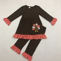 Nieuwe Ontwerp Baby Meisje Kleding Leuke Turkije Borduurwerk Ronde Hals Bruin En Dot Splice Broek Kinderkleding T016