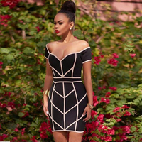 2017 Newest Summer Dress Women Celebrity Party Black Short Sleeve Off The Shoulder Sexy Dress Women