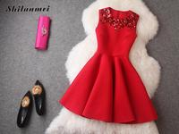 2017 Women Summer Vintage Sequin Dress Red Sleeveless Party Dresses Vestido De Festa Evening Elegant Bodycon
