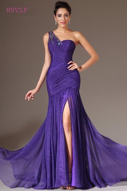 Purple Evening Dresses 2018 Mermaid One Shoulder Chiffon Beaded Slit