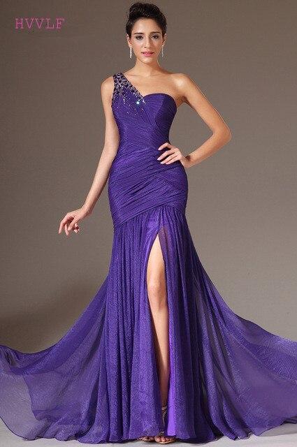 Purple   Evening     Dresses   2019 Mermaid One-shoulder Chiffon Beaded Slit Plus Size Long   Evening   Gown Prom   Dresses   Robe De Soiree