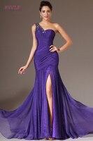 Purple Evening Dresses 2018 Mermaid One Shoulder Chiffon Beaded Slit Plus Size Long Evening Gown Prom
