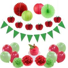 25pcs Red Apple Decorations Tissue Paper Banners Garland DIY Pom Flowers Fruit  Honeycombs Hanging Themed Party Supplies
