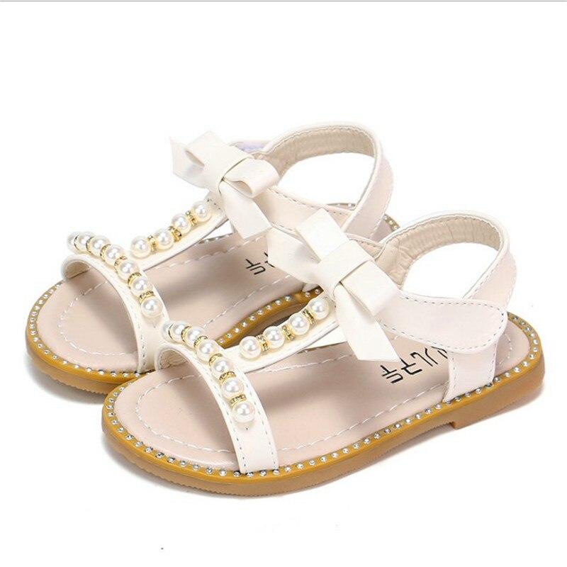 Analytisch Koreanische Version Der Trend Prinzessin Mädchen Leder Sandalen Mode Perlen Dekoration Sommer Schuhe Für Baby Mädchen Rosa Weiß Schuh