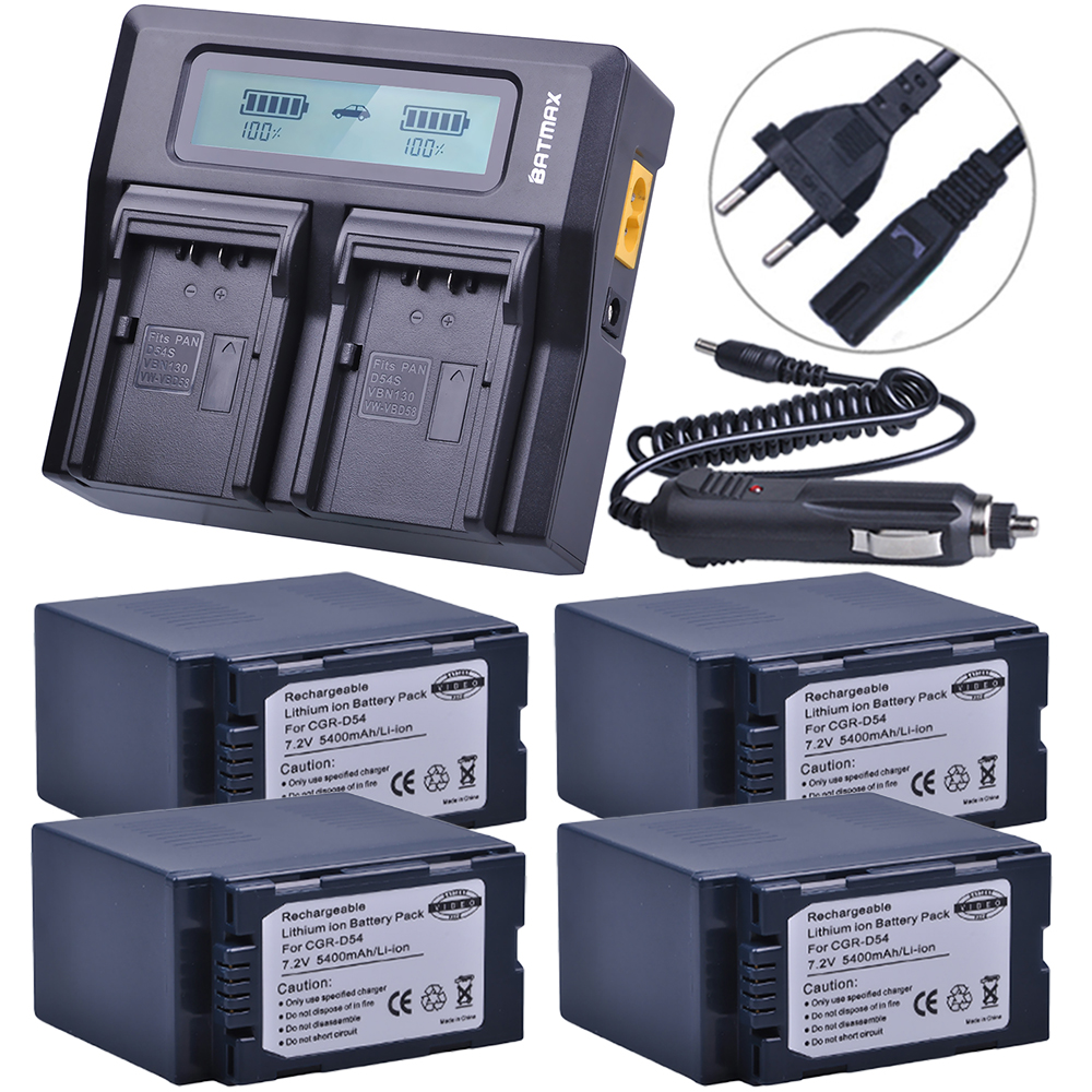 4Pcs 5400mAh CGA-D54 CGA D54 D54S Battery +Ultra Fast LCD Dual Charger for Panasonic CGA-D54S Battery CGA-D220, CGA-D320 CGA-D54