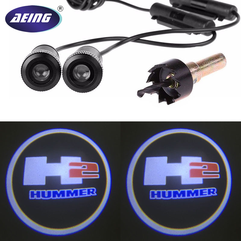 AEING 2pcs Ghost Shadow Logo welcome Car White LED Door Light Laser Courtesy Slide Projector logo Emblem light For HUMMER H2