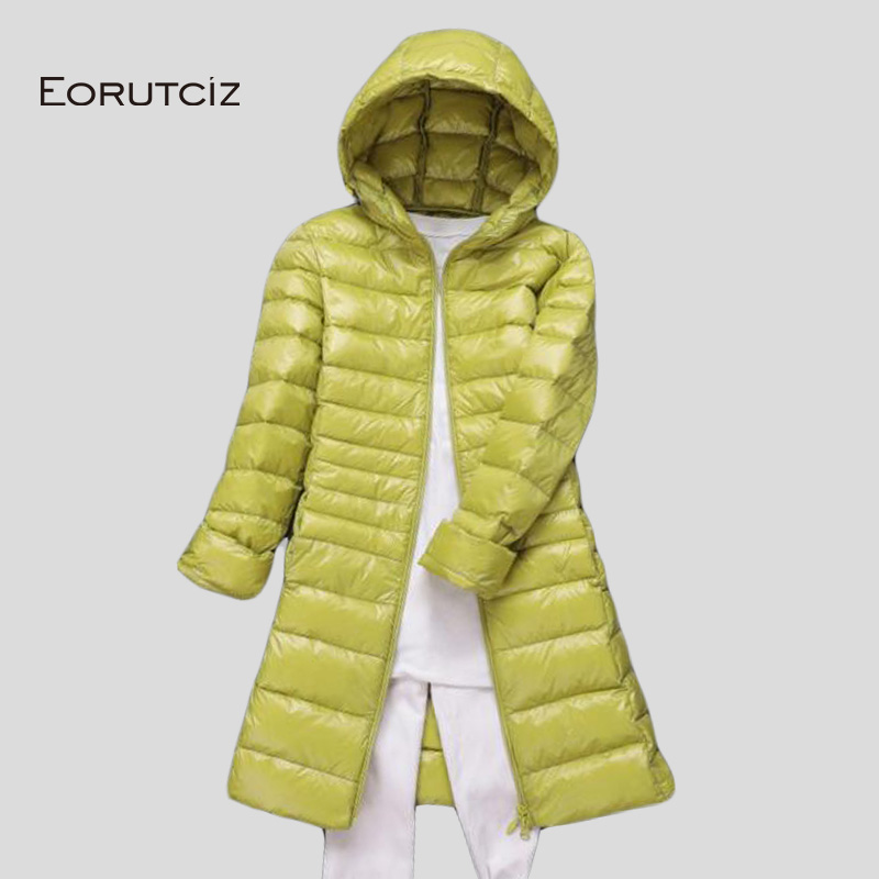 EORUTCIZ Winter Plus Size 7XL Long Down Coat Women Ultra Light Hoodie Jacket Warm Vintage Black Autumn Duck Down Coat LM142