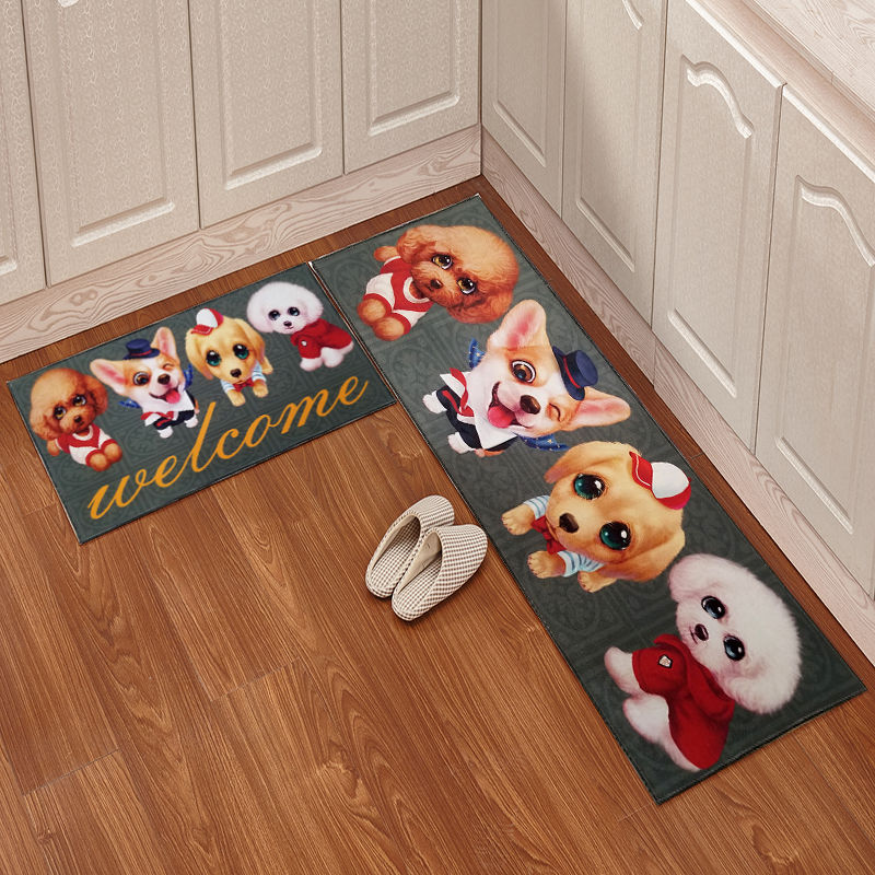 Cartoon Kitchen Floor Mat Door Mat 2pcs/set Mattress Bathroom Antiskid Pad Long Strip Absorbent Household Carpet Bathroom Carpet