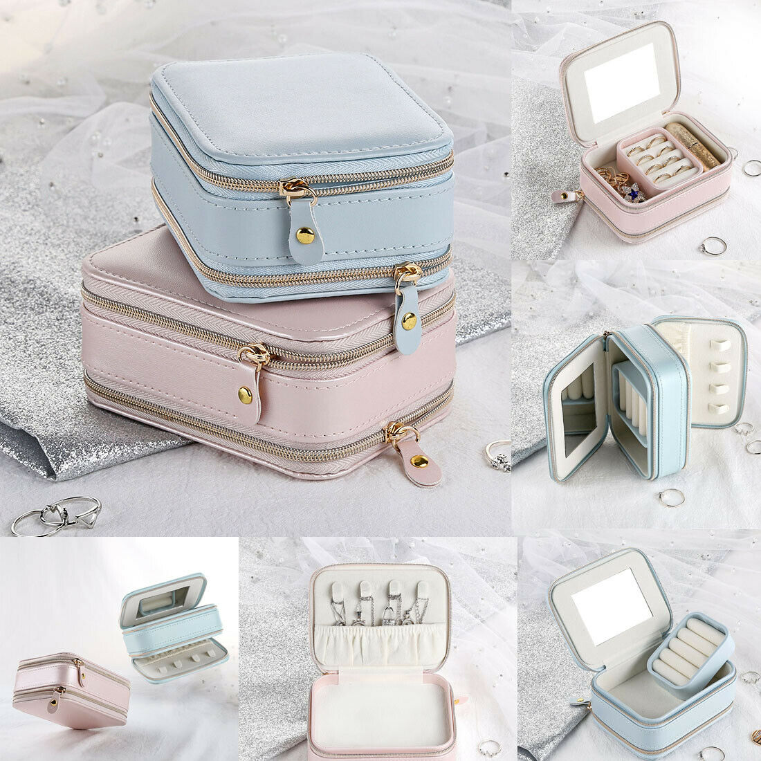 2019 Newest Portable Travel Jewelry Box Carrying Cases Organizer Outdoor Leather Ornaments Case Storage Jewelry Display Dropship
