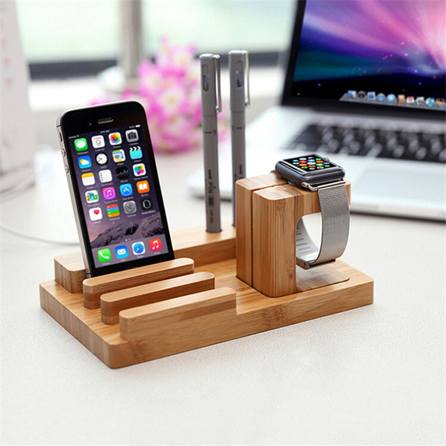 Universal Natural Bamboo Charging Dock Cradle Stand Detachable Multifunction Phone Holder for iPhone Ipad Tablet for iWatch Desk