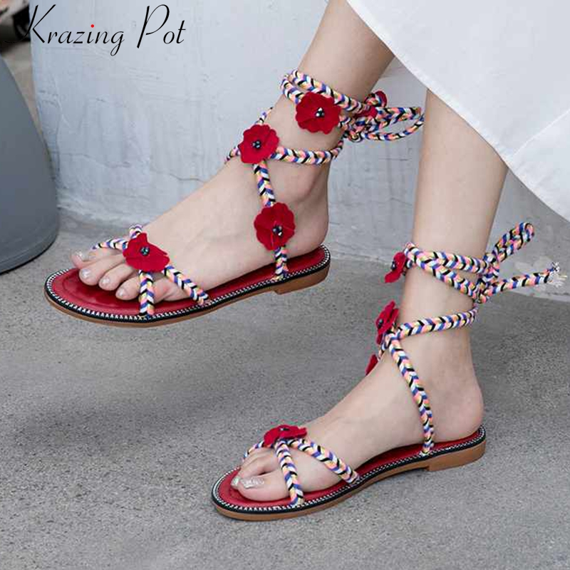 Krazing pot streetwear summer oriental style low heels three-dimensional red flowers peep toe vacation ankle lace up sandals L62Krazing pot streetwear summer oriental style low heels three-dimensional red flowers peep toe vacation ankle lace up sandals L62