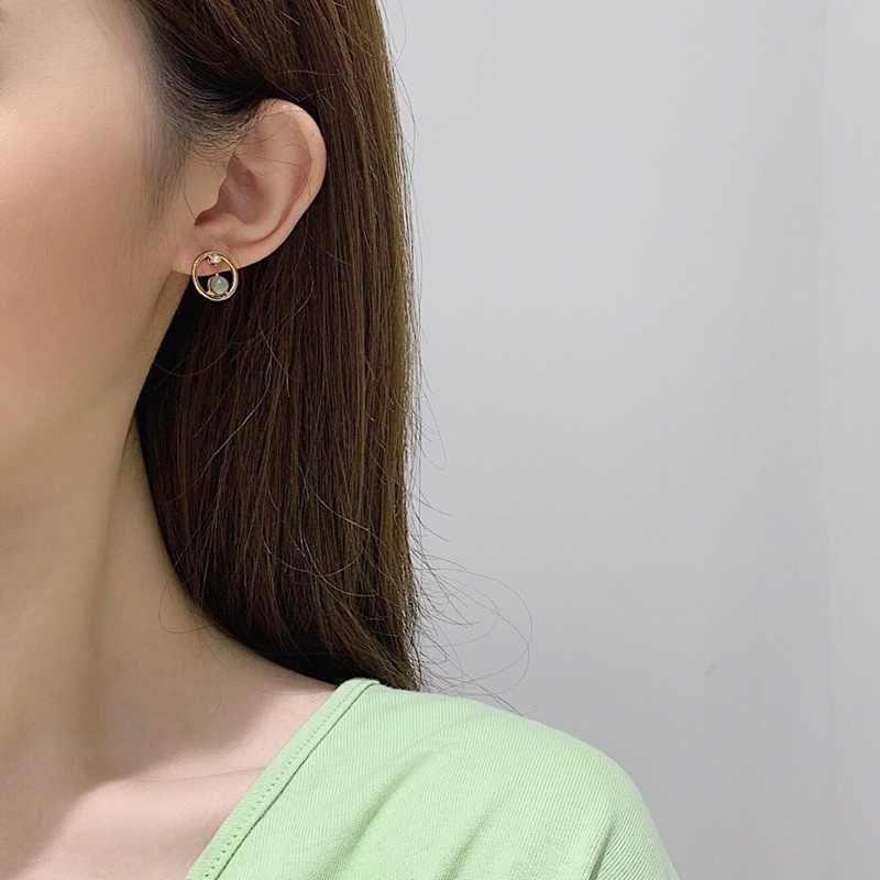 MENGJIQIAO 2019 nueva moda Coreana de cristal verde de Metal círculo Pendientes para mujeres Linda imitación Peal Pendientes joyería