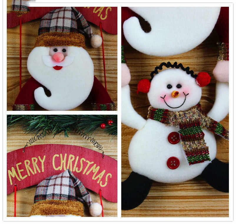 แขวนจี้ของขวัญผ้าพวงหรีดคริสต์มาส Snowman แขวนประตู Party ตกแต่งแขวนตกแต่งพรรค Xmas 9.Nov.8