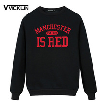 Великобритания Красный с буквенным принтом хлопок с длинным рукавом толстовки Толстовка О-образным вырезом для мужчин Манчестера Топы толстовка размера плюс