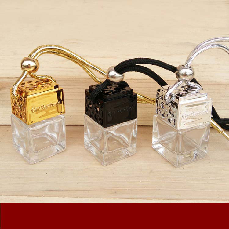 6ML Square Perfume Glass Bottle Luxury Home Car Hanging Air Freshener Fragrance Empty Essential Oil Refillable