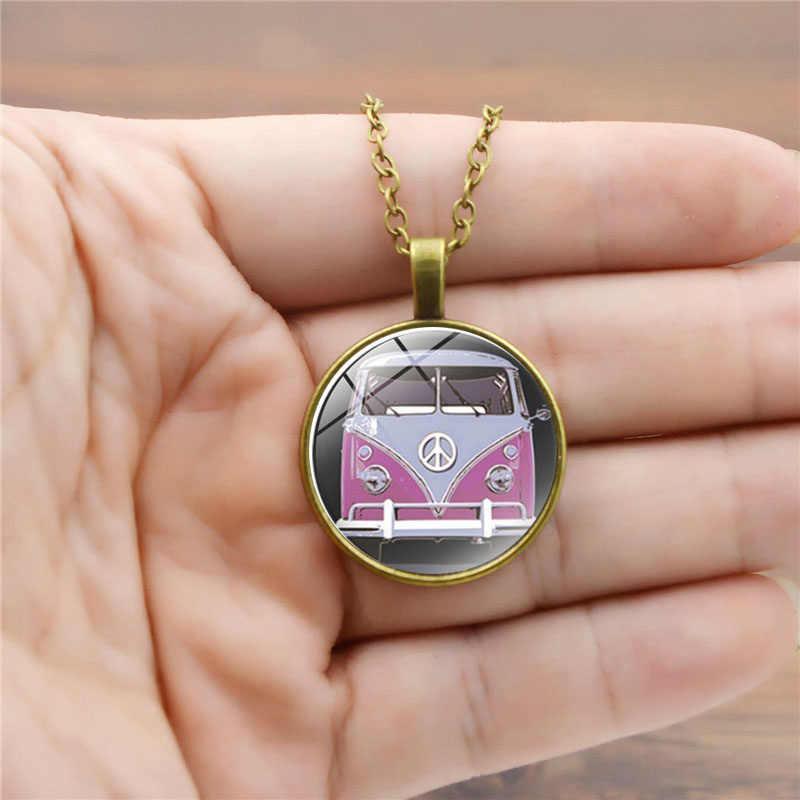 2018 new vintage Hippie Dấu Hiệu Hòa Bình Văn Bus vòng cổ thời trang phụ nữ purse bag xe mặt dây chuyền chuỗi vòng cổ chủ jewelry
