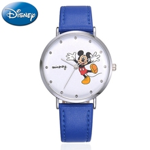 New Mickey Women Leather Quartz Fashion Casual Luxury Rhinestone Stone Girls Simple Watch Ladies Blue Red Disney Student Watches genuine disney roman type women dress best quality leather antique watches girl fashion casual quartz watch famous hour mickey