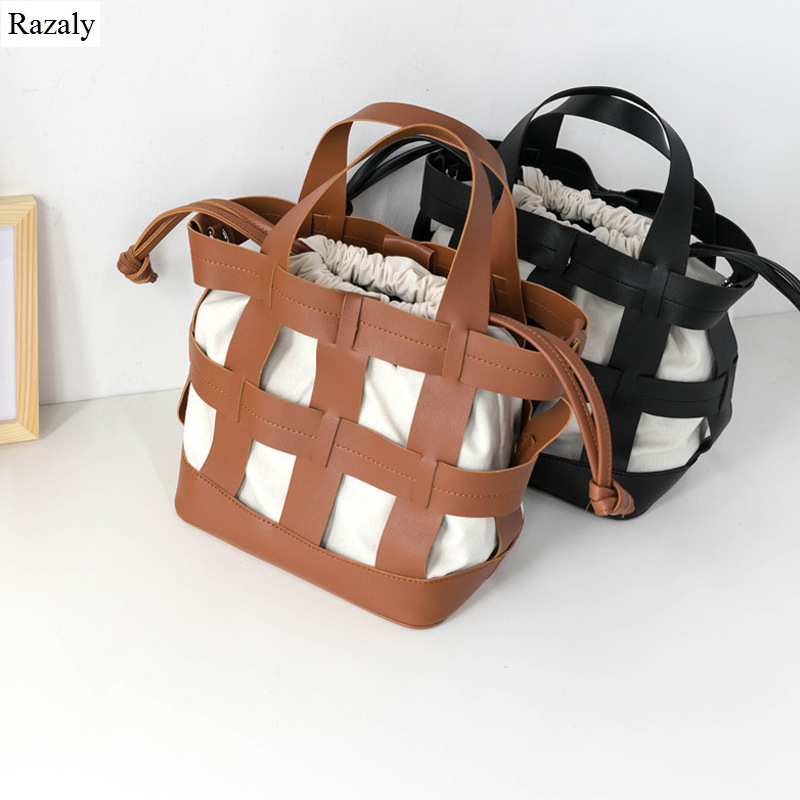 Razaly brand large capacity woman grand tote hollow out basket bucket hand bag weave summer beach travel leather canvas designer-in Top-Handle Bags from Luggage & Bags    1