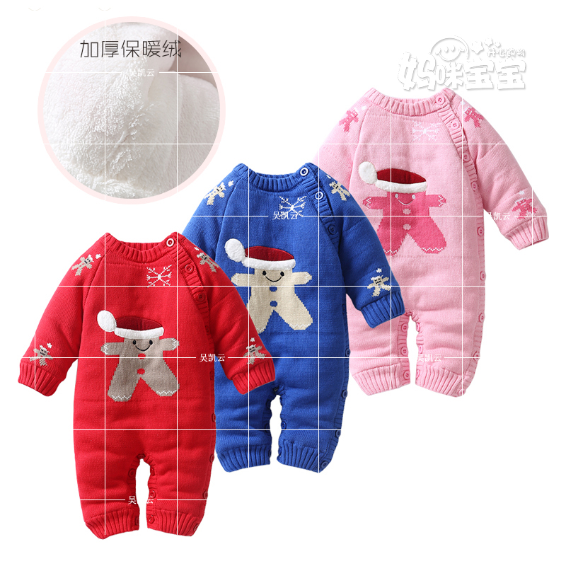 2017 Autumn winter jumpsuit boy girl Knitted Sweater Christmas child baby romper thickening thermal romper baby cotton outerwear2017 Autumn winter jumpsuit boy girl Knitted Sweater Christmas child baby romper thickening thermal romper baby cotton outerwear