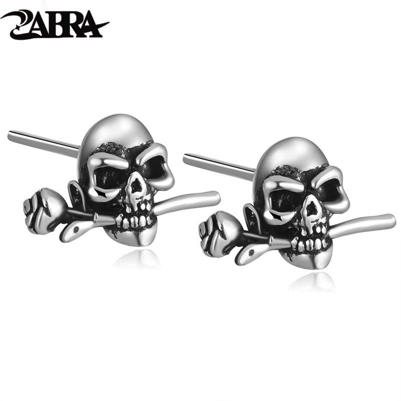 ZABRA Mens Earrings Silver 925 Skull Rose Studs Steampunk Rock Biker Men Vintage Earrings Male Black Sterling Silver Jewelry