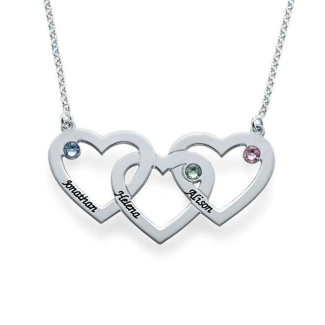 Silver Plated Three Heart Necklace Custom Made With Three