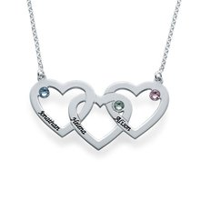 Silver Plated Three Heart Necklace Custom Made with Three Names ecklace for Women Popular Design Crystal Necklace in 2016
