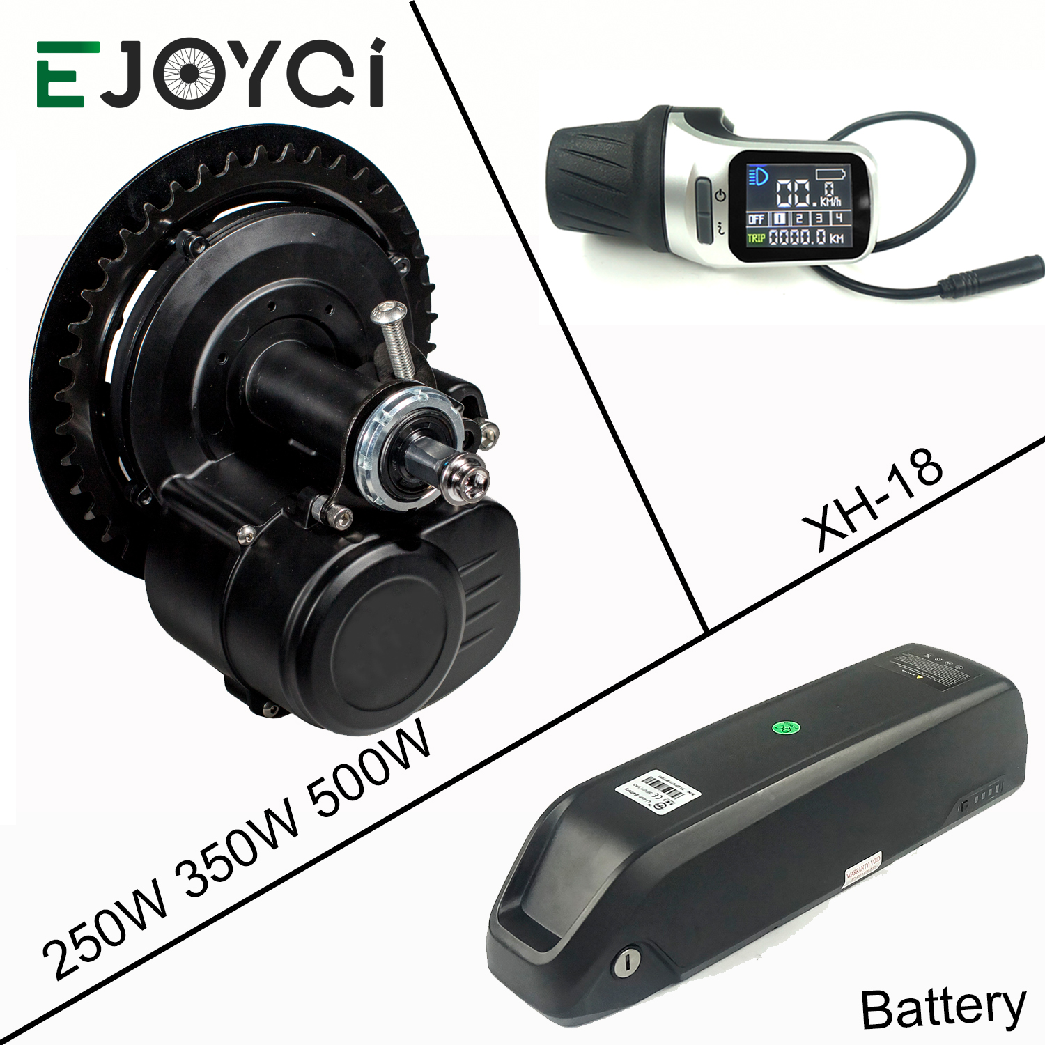 EJOYQI Ebike Kit With Battery With 36V 250W 350W 500W 48V 500W TSDZ2 Midmotor With XH18 LCD Display
