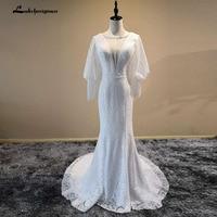 Long Sleeve Lace Beaded Mermaid Wedding Dresses Formal Bride Dress Wedding Gowns 2018 New Design Custom Made