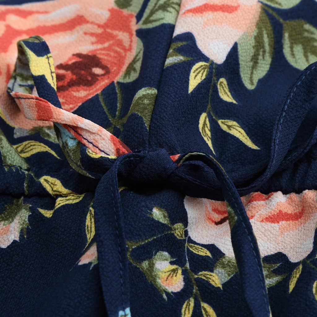 Цветочный короткий комбинезон с открытыми плечами и высокой талией на бретельках, женский модный комбинезон с v-образным вырезом, комбинезон с открытыми плечами размера плюс 5XL