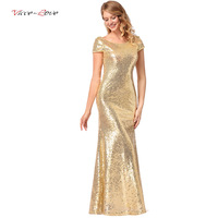 Luxury Gold Silver Long Sequin Dress Gold O Neck Evening Gowns Short Sleevele Prom Formal Dresses