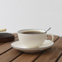 Impressed Black and White Elegant Simple Style Ceramic Coffee Mug with Spoon and Tray 300ml