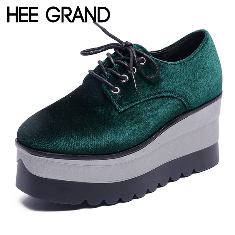 HEE GRAND Flock Creepers Platform Casual Shoes Woman Lace-Up Oxfords Spring Flats Fashion Solid Women Shoes XWD6992 hee grand 2017 creepers platform casual shoes woman lace up oxfords spring flats fashion solid women shoes xwd4890