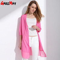 GAREMAY Women Summer Cardigan Knitted Chiffon Blouse Shirt Long Kimono Plus Size Crochet Poncho White Long