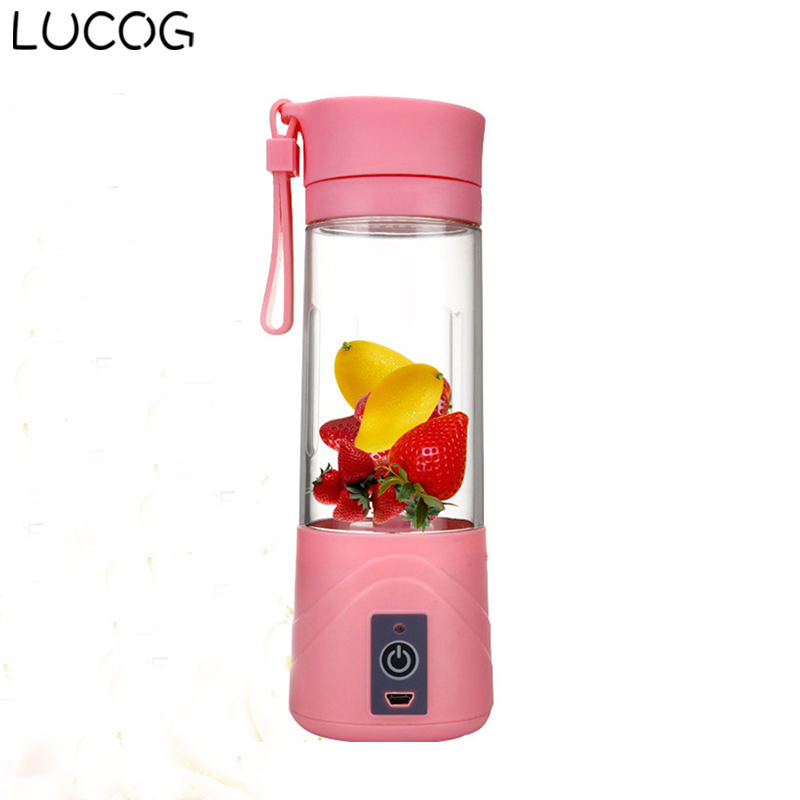 LUCOG 400ml USB Rechargeable Juicer Bottle Cup Citrus Juice Blender Vegetables Fruit Milk shake Smoothie Squeezers Reamers
