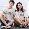 2016 casal de verão impressão pijama define algodão Sleepwear casa de verão roupas mulheres e homens Sleepwear frete grátis