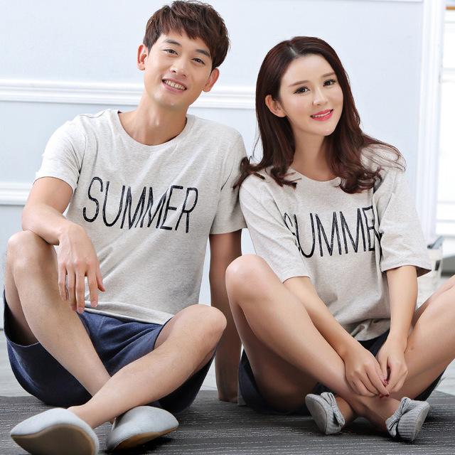 2016 pareja verano de impresión pijamas ropa de dormir de algodón casa de verano ropa mujeres y hombre dormir envío gratis