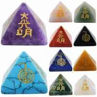 TUMBEELLUWA pirámide de cristal curativo grabado, piedra metapísica, símbolo de Usui Reiki, poderosa energía, Wicca de meditación