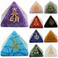 SUNYIK Healing Crystal Orgone Chakra Pyramid Engraved Metaphysical Stone Figurine Balancing Reiki