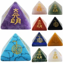 Купить с кэшбэком Healing Crystal Orgone Chakra Pyramid Engraved Metaphysical Stone Figurine Balancing Reiki