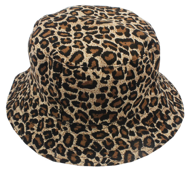 26077a59b5582 Free Shipping 2018 New Fashion Summer Leopard Animal Printed Bucket Hats  Fishing Cap Women Men