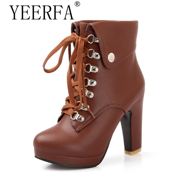 YEERFA 2017 new fashion lace up women ankle boots high heels black brown motorcycle boots platform shoes woman size 35-43 plus size platform high heels boots lace up chunky heel ankle boots for women new fashion booties martin shoes woman black