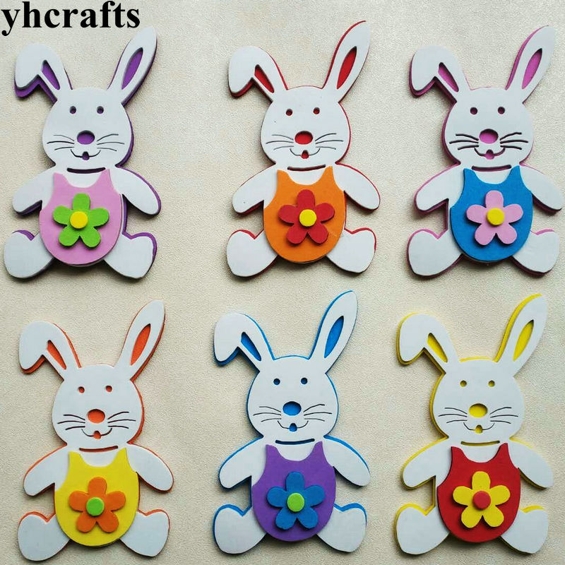6PCS/LOT,EVA Foam 3D Rabbit Without Stickers Kindergarten Crafts Scrapbooking Kit.Pocket Craft Easter Crafts Classic Toys OEM
