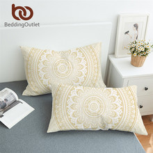 BeddingOutlet Gold Mandala Pillow Case Bohemia Flower Pillow Covers Ethnic Style Pillowcase Boho Home 50x75cm 50x90cm(China)