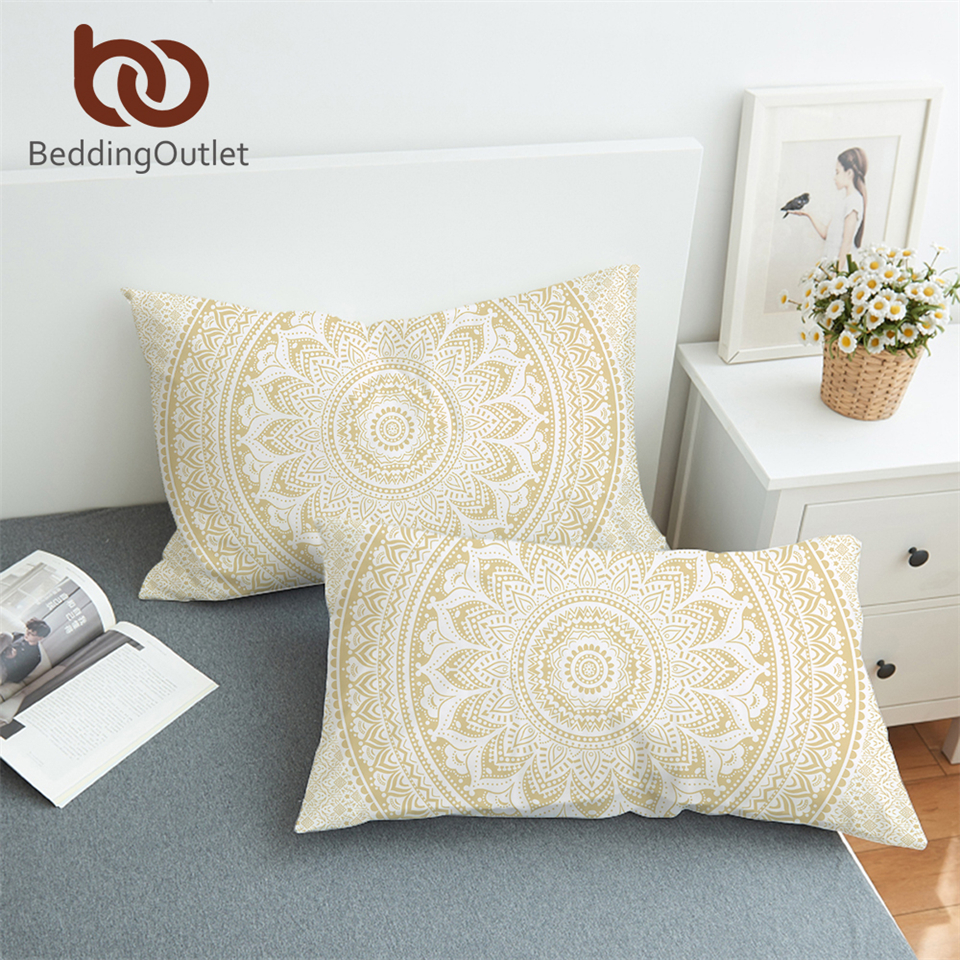 BeddingOutlet Gold Mandala <font><b>Pillow</b></font> <font><b>Case</b></font> Bohemia Flower <font><b>Pillow</b></font> Covers Ethnic Style Pillowcase Boho Home 50x75cm <font><b>50x90cm</b></font> image